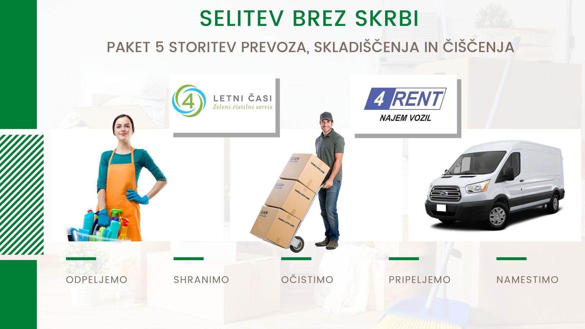 Selitveni servis v okviru podjetij 4 letni časi in 4 rent poskrbi za paket storitev od prevoza, skladiščenja do čiščenja